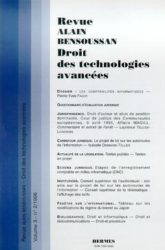 Revue Alain Bensoussan Droit des technologies avancées