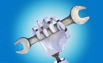 Robot hand with wrench, automated industry