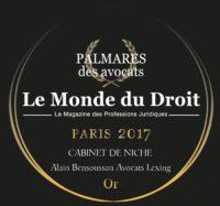 Trophée d'Or 2017 Cabinet de niche